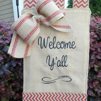 "18"" "" Welcome y'all burlap garden flag, yard decoration, embroidered garden flag, housewarming gift"