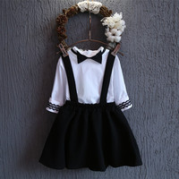 Toddler Girls Clothes Overall Skirt Blouse 2pcs Suit Spring Autumn Girls Clothing Sets Korean Style White Bow School Shirt Set-in Clothing Sets from Mother & Kids on Aliexpress.com | Alibaba Group