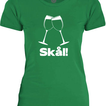 Big Texas Wine Glass Swedish Cheers (White) Womens Fine Jersey T-Shirt