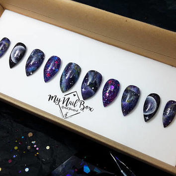 Galaxy Nails | Press on nails |  Fake Nails | Set | Nail Art | False Nails | Glue On Nails | Reusable Nails | Handpainted Nail Art