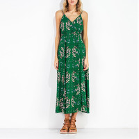 Summer Dress Green Floral Print Long Maxi Dress Sleeveless  Backless