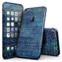 The Grungy Blue Green Stars Surface - 4-Piece Skin Kit for the iPhone 7 or 7 Plus