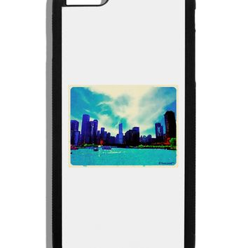 Chicago Skyline Watercolor Black Dauphin iPhone 6 Plus Cover by TooLoud