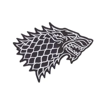 Aanywe patch Game of Thrones Stark Direwolf Embroidered Iron-on Badge Patch