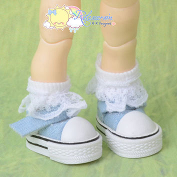 Doll Shoes Mary Jane Tennis Shoes Sneakers Washed Denim Light Blue for Blythe Pullip Momoko Lati Yellow Pukifee BJD Dollfie Kish Riley Riki