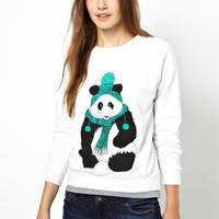 Cartoon Panda Long Sleeve Pullover Sweatshirt