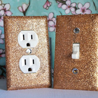 CHAMPAGNE GOLD Glitter Switch Plate & Outlet Covers. SET OF 2. ALL Styles Available!
