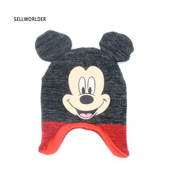 SELLWORLDER Baby Kids 2017 Winter Warm Hat Micky  Cartoon Character Printed  Skullies & Beanies