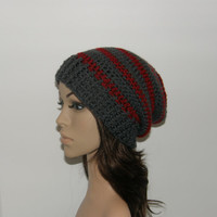Everyday Slouch Hat  Gray Red Stripes