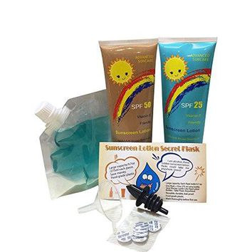 Sly Sippy Sunscreen Lotion Secret Flask 2 x 275 ML97oz + one 200 ML Clear floppy secret flask Combo pack
