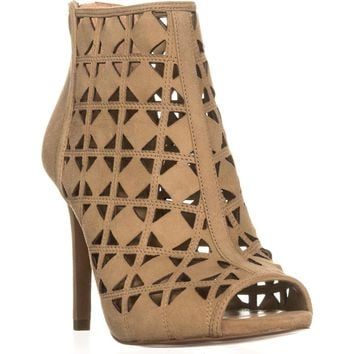 MICHAEL Michael Kors Ivy Bootie Peep Toe Perforated Booties, Dark Khaki, 6 US / 36 EU