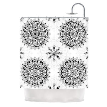 "Julia Grifol ""Black Mandala"" White Black Shower Curtain"