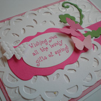 Handmade Easter Card/Happy Easter Card/Spring Card-Handmade & Handstamped-Doily and Butterflies