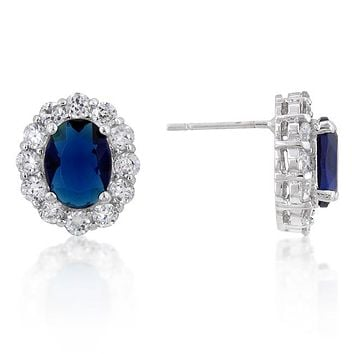 Kate Royal Oval Sapphire Stud Earrings