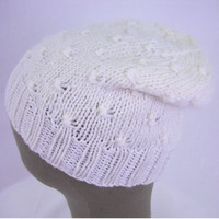 hand knit wool & mohair hat - white hat - slouchy knit hat - winter hat- white beanie - textured hat- white slouchy hat- slouchy knit beanie