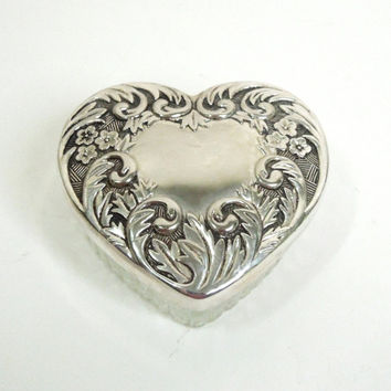 Ornate silver and glass heart-shape trinket box ring box powder jar with floral and scroll design - Heart trinket box with mirror