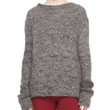 Long-Sleeve Alpaca Tweed Sweater, Gray, Size:
