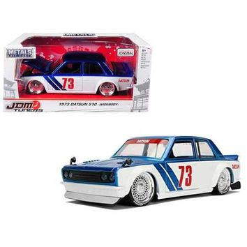 "1973 Datsun 510 Widebody #73 Blue ""JDM Tuners"" 1/24 Diecast Model Car by Jada"