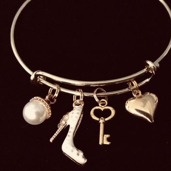 Shoe Key Pearl Heart Gold Expandable Charm Bracelet Adjustable Bangle Girlfriend Best Friend Gift