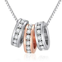 Rose Gold and Silver Rings Necklace