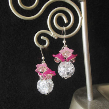 Cracked Glass Earrings - Round Clear Glass Earrings - Pink Lucite Flower Earrings - Beaded Crystal Dangle Earrings - Handmade Gifts for Her