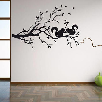 Squirrel wall decal, baby squirrel decal, nursery wall decal, outdoor wall decal, boy wall decal, girl wall decal, nursery wall decor /i79