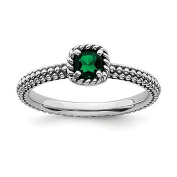 Sterling Silver Stackable Expressions Created Emerald Cushion Ring