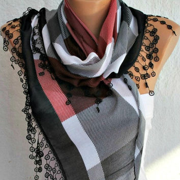 Plaid  Scarf -  Cotton Scarf  Cowl Scarf with  Lace Edge - fatwoman