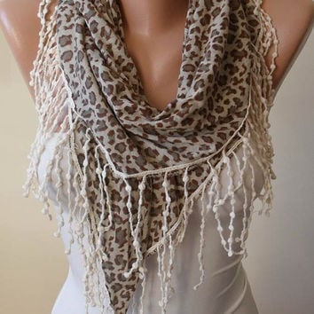 New - Christmas Gift - Trendy - Leopard Scarf - Light Brown and Gray Scarf with Beige Trim Edge - Combed Cotton Fabric