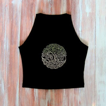 Black Crop Top With Embroidered Tree Of Life-Yoga Top-Womens Sleeveless Boho Crop Top-Tree Of Life-American Apparel Top