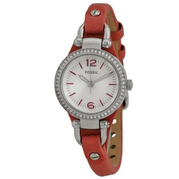 FOSSIL Orange Leather Strap Ladies Watch