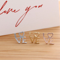 L♡VE stud earrings, 3 colors | girlsluv.it