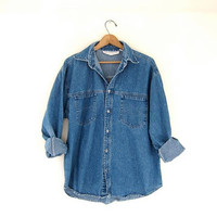 vintage blue denim jean shirt. button down shirt.