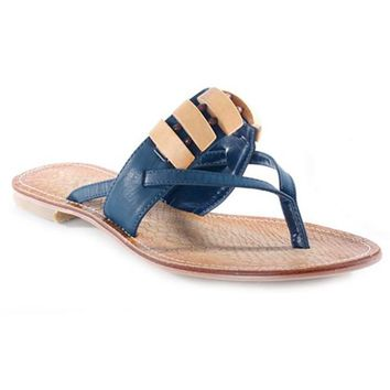 NOMI BEADED THONG SANDALS - BLUE