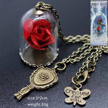 2017 New Beauty and the Beast movie Princess Belle  Rose Pendant necklace chain glass rose flower cosplay accessary