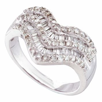 14kt White Gold Womens Round Baguette Diamond Chevron Band Ring 7/8 Cttw