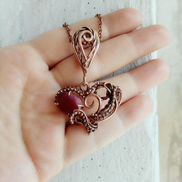 Ruby pendant Ruby jewelry Heart necklace Heady wire wrap Meaningful gift  Ruby necklace Birthstone necklace Birthstone bar Sideways necklace