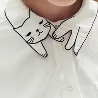 White Cat Pattern Collar Pocket Detail Long Sleeve Shirt
