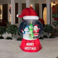SheilaShrubs.com: Snow Globe with Santa Hat - Santa with Snowman 87240 by Gemmy Industries: Christmas Outdoor Decor