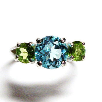 "Blue topaz ring, topaz peridot  ring, 3 stone ring, anniversary ring, mother's ring, blue green,   s 6 1/2  ""The Alexsis"""