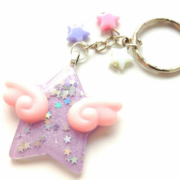 dd77cfe62f6b Purple Winged Star With Pink Angel Wings Keychain