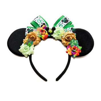 St Patricks Day Mouse Ears Headband, Floral Mouse Ears, Flower Mouse Ears, St Patricks Day Outfit, Saint Patricks Day Outfit, Mouse Costume