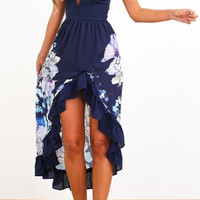 Blue Floral High-Low Hem Summer Dress