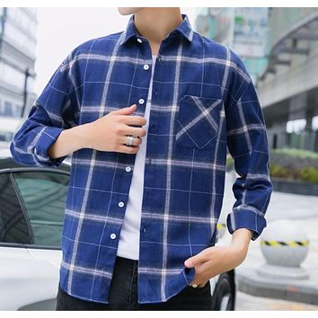 Mens Casual Long Sleeve Button Front Plaid Shirt in Blue