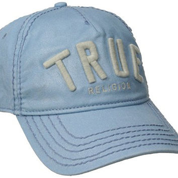 True Religion Men's Reflective Coated Baseball Cap with 3-D Embroidery, Dusk, One Size