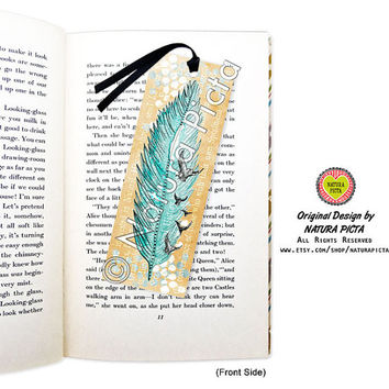 Watercolor Boho Feather Bookmark-feather bookmark-Mixed Media-Quote bookmark-Custom Bookmark-wedding bookmark-Design by Natura Picta BKMK008