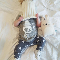 2016 summer baby boy clothes newborn fashion milk printed t-shirt+pants infant 2pcs suit baby girl clothing set