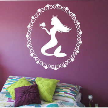 Mermaid Wall Decal PRINCESS Sticker Art Decor Bedroom Design Mural interior design beach ocean hawaii  PRINCESS MERMAID kids room ocean sea