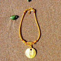 Eclectic Bright Gold Shell Pendant Necklace