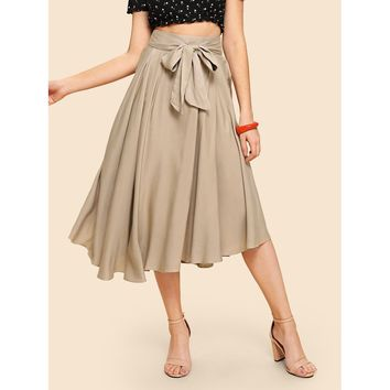 Apricot Boxed Pleated Wide Waistband Skirt